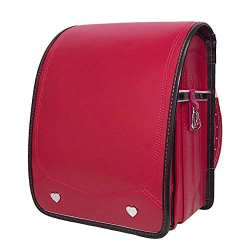 YMXLJJ Automatic Lock Japanese Primary Schoolbags Boys and Girls Children,Backpack for 1-6 Grade,Red