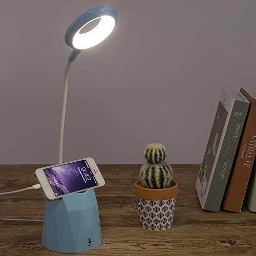 LED Tischlampe Stifthalter Schreibtischlampe wiederaufladbare USB-Leselampe, Berührungssensorschalter, dimmbare Kinderlampe mit Stifthalter, Augenschutz-Nachtlicht, Nachttischlampe (Blau)