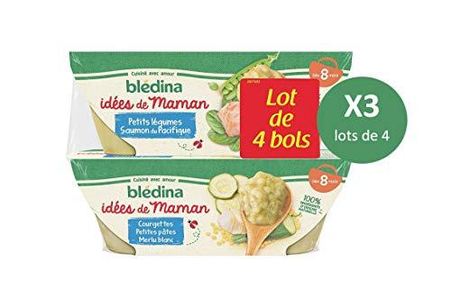 Blédina 12 bols Idées de Maman (3 Lots de 4) dès 8 Mois : 6 Petits Légumes Saumon du Pacifique / 6 Courgettes Petites Pâtes Merlu Blanc