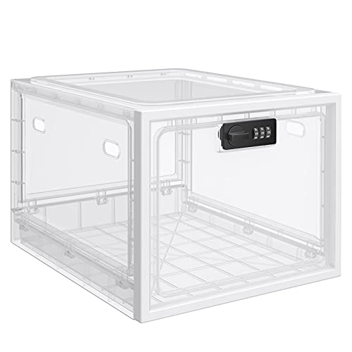 Lockable Box, Medicine Lock Box for Safe Medication, Compact and Clear Childproof Lockable Storage Box for Medicine, Food and Home Safety, Lockable Storage Bin, Refrigerator Storage Bins