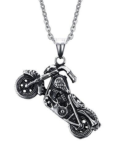 Vnox Herren Edelstahl Motorrad Radfahrer Punkrock Charme hängende Halskette Silber Schwarz,freie Kette