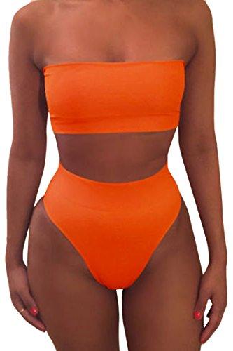 Viottiset Strandkleidung Damen Sommer High Waist Badeanzug mit Abnehmbare Träger L Orange