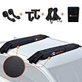 MeeFar Universal Car Soft Roof Rack Pads Luggage Carrier System for Kayak Surfboard SUP Canoe Include 2 Heavy Duty Tie Down Straps, 2 Tie Down Rope, 2 Quick Loop Strap and Storage Bag