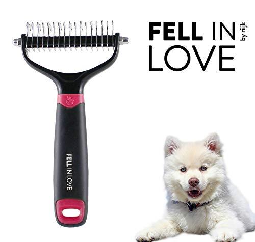 riijk Hundebürste und Katzenbürste für die Entfernung von Unterfell - Hundebürste Langhaar und Pflegebürste auch für mittleresFell