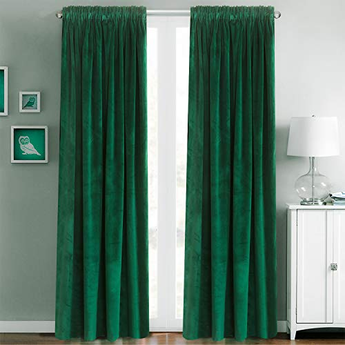 Roslynwood Velvet Curtains Forest Green Rod Pocket Drapes Emerald Green 63 inch Thermal Insulated for Bedroom 2 Panels (W52'' x L63'', Emerald Green)