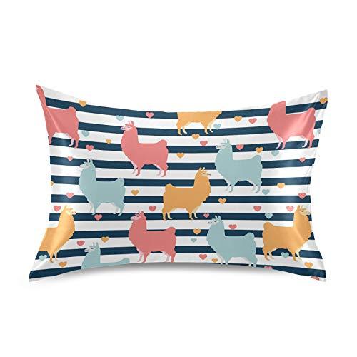 HaJie - Funda de almohada de satén con diseño de rayas, 100% poliéster, para cabello y piel, tamaño Queen 50,8 x 76,2 cm, 1 unidad