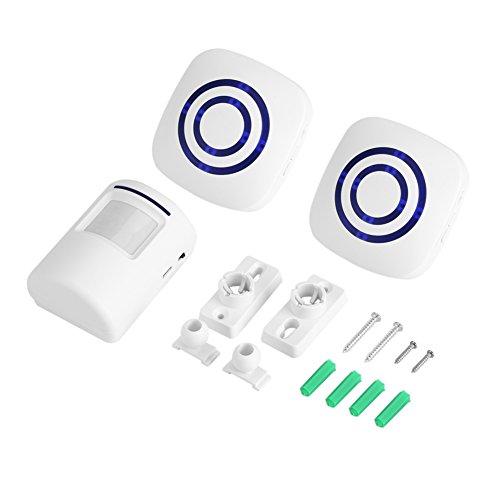 Alarma de Timbre, 110-240V Detector de Movimiento inalámbrico Tipo Split con Sensor infrarrojo Alarma de Timbre de Puerta de Entrada con Receptor Transmisor Seguridad para el hogar(#3)