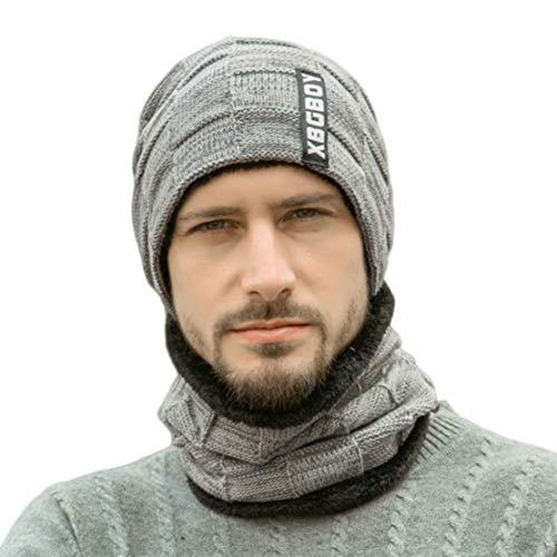 Sombrero de Punto Térmico de Invierno - Conjunto de Gorro y Bufanda de Lana para Mujer/Hombre Cálido,Gray,Adult