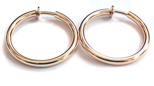 Clip-on Earrings Round Shiny Hoop Gold Or Silver Tone 1 inch Hoops Hypo-Allergenic (gold)