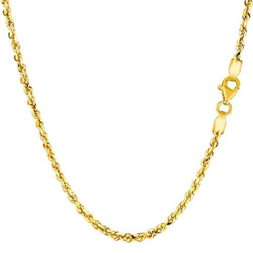 14K Amarillo Oro sólido corte de diamante Royal cuerda collar de cadena, 2.25mm