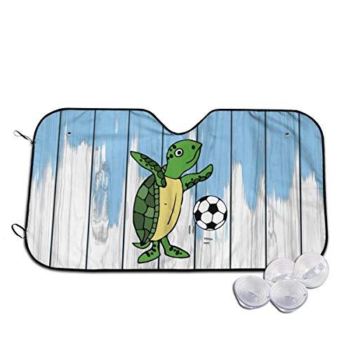 Du-shop Windschutzscheibe Sonnenschutz Meeresschildkröte Fußball spielen Lustiges Visier Auto Sonnenschutz Universal 51x27,5 Zoll für Autos SUV LKW, Block The Sun, Schützt Innenraum Cool
