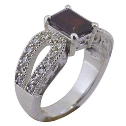 Gemsonclick Echte Granat Ring Handgemachte Smaragd Form Antik Pflastern Stil 925 Silber Schmuck Größe R