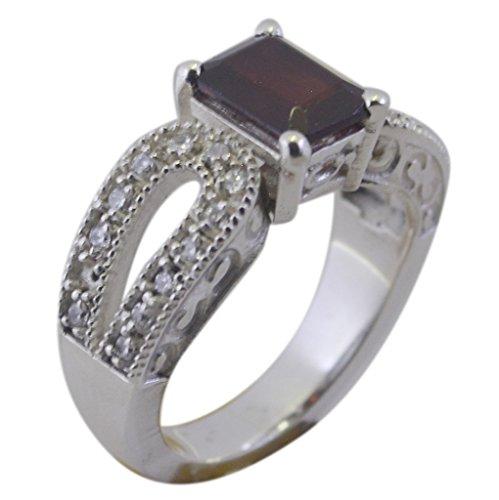 Gemsonclick Echte Granat Ring Handgemachte Smaragd Form Antike Pflastern Stil 925 Silber Schmuck Größe Q
