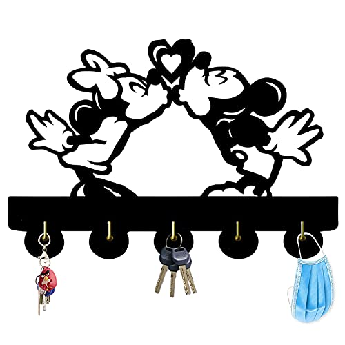 Mickey and Minnie's Love Theme Wall Decor Hooks Customize Household Door Decor Hooks Multi-Function Wall Coat Bags Clothes Hook Keys Holder