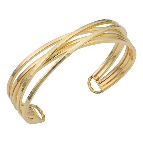 KoolJewelry 14k Yellow Gold Diamond-cut Crisscross Cuff Bangle Bracelet (15 mm, 7.5 inch)