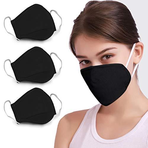 Lowest Prices! 3PCS Cotton Reusable Washable Anti Dust Face Mouth Cotton (3 Black)
