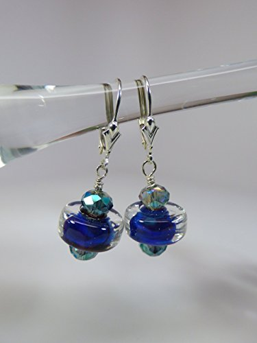 Blue Artisan Lampwork Silver Glass Earrings with Fire Polish Crystal Accents and Sterling Silver Leverback Ear Wires