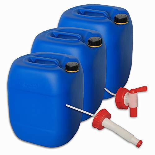 plasteo Set 3 x 30 Liter Getränke- Wasserkanister mit 1 Hahn + 1 flexiblem Ausgießer und 3 Schraubdeckel (DIN 61) | Lebensmittelecht | Tragbar | Indoor und Outdoor | BPA Frei Blau