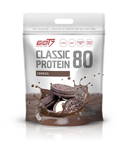 GOT7 Classic Protein 80 Eiweiß Proteinshake Eiweißshake Whey 60% Casein 20% Isolate Muskelaufbau Fitness Kraftsport Bodybuilding (2000g Cookies & Cream)