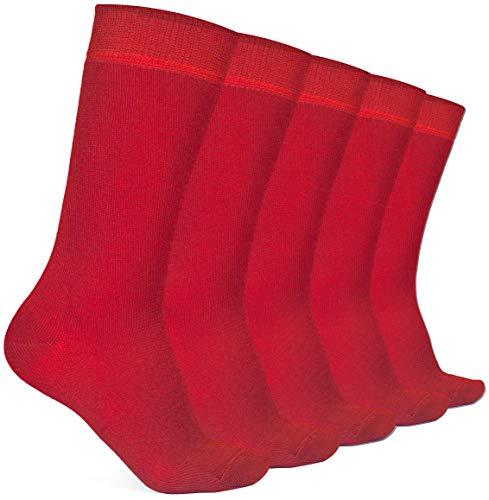 Hugh Ugoli Kids Bamboo School Socks | Crew School Socks for Girls & Boys, Comfort Seam, 5 Pairs, Red, 9-11 Years