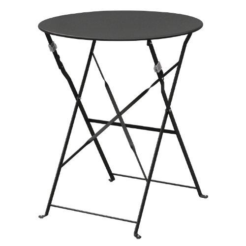 Boléro gh558 Trottoir Table en acier style, 710 mm x 595 mm, jardin Restaurant Commercial, noir