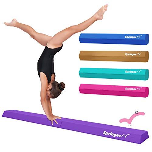 Springee 6ft Balance Beam - Extra Firm - Vinyl Folding Gymnastics Beam for Home - Purple