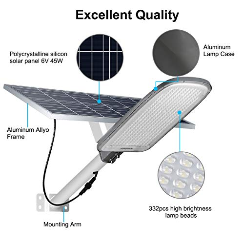 300w Solar Lights Outdoor, 332 LEDs Power Street Light with Remote Control, Mounting Pole and Bracket, Dusk to Dawn Security Flood Light for Yard, Garden, Basketball Court, Parking Lot