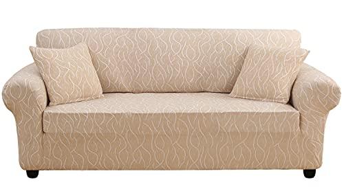 KELUINA Fundas elásticas para sofá de 1/2/3/4 plazas, poliéster y elastano impresas, para sala de estar, funda elástica para sofá, fundas protectoras de muebles (P12, 1 plaza, 92-126 cm)