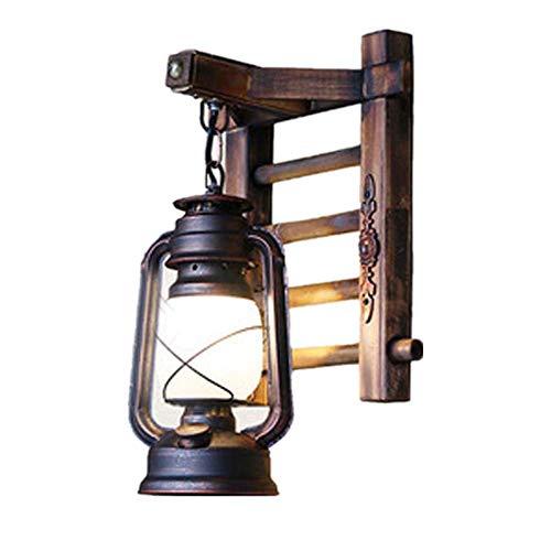 WXJLYZRCXK Lámpara de Pared, Luces de Pared Antiguas Vintage, Escalera de Bambú, Linterna de Queroseno, Led E27, Aplique Interior, Lámpara de Pared para Loft, Lámpara de Pared Retro Nostalgia para Sa