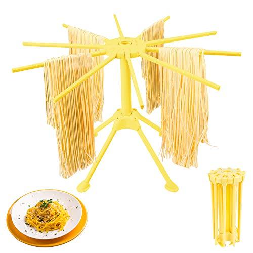 LOVEXIU Stendipasta,Stendino Pieghevole per Pasta Fresca con 10 Bracci,Noodles Pieghevoli Stendino Pieghevole per Pasta,Facile da Riporre, Veloce da Montare per Pasta Fresca Come Spaghetti (Giallo)