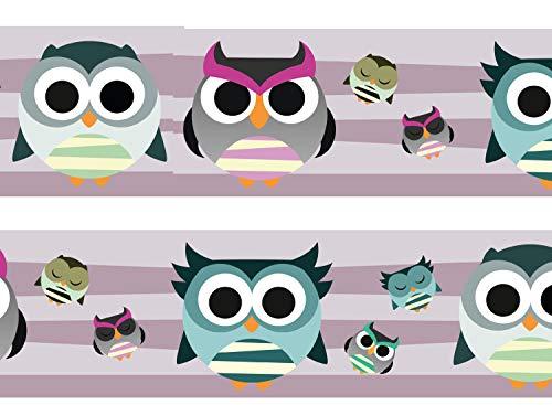 wandmotiv24 Bordüre Eulen 260cm Breite - Vlies Borte Tapetenbordüre Bordüren Borde Wandborde Muster owl Streifen M0093