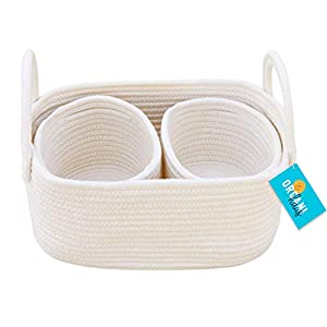 OrganiHaus Set of 3 Mini Woven Cotton Rope Nursery Baskets with Handles, Decorative Baby Room Cute Rustic Basket Storage Organizer Bin for Toys, Diapers, Crafts, Clothes, Laundry – Off White