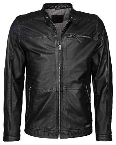 MUSTANG - Giacca in pelle da uomo con colletto corto, colore: nero Nero M