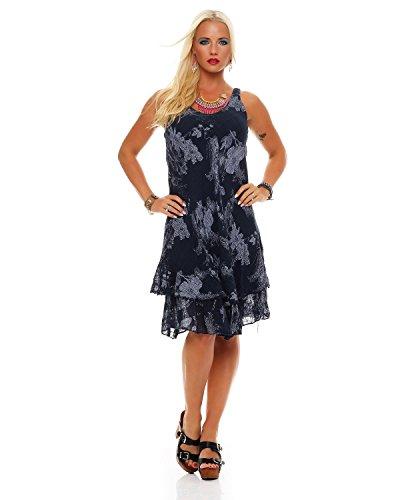 Zarmexx Sommerkleid Knielang doppellagig Baumwolle Kleid Strandkleid V-Ausschnitt floraler All-Over Prin