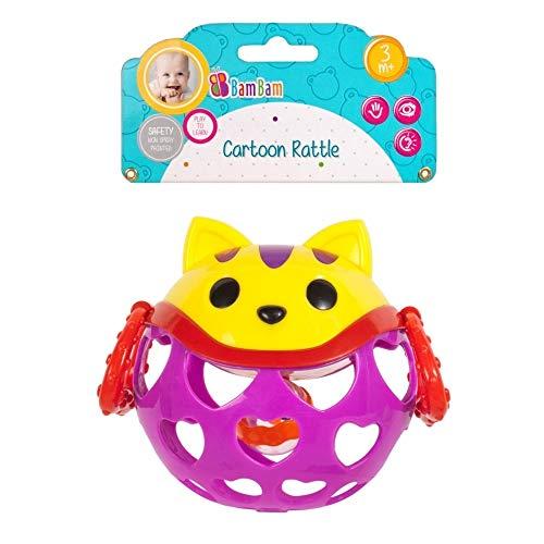 Bambam Hochet pour bébé Balle en Caoutchouc et Plastique Chat , avec Boule a l'intérieur rempli de Petites Billes.