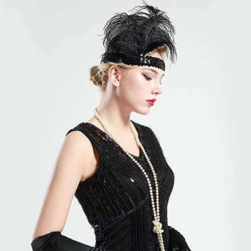 BABEYOND 1920s Stirnband Feder Flapper Stirnband Roaring 20er Showgirl Haarband Gatsby Stil Accessoires Damen Retro Stirnband - 5