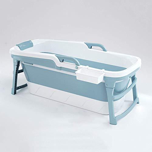 CHUTD Bañera Plegable portátil para niños Adultos, Piscina Grande, de plástico, Independiente, bañera para Adultos con Tapa, Azul