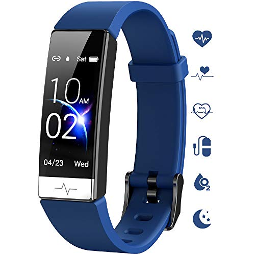 Fitness Tracker , Heart Rate Monitor IP67 Waterproof Activity Tracker HRV Health Watch SPO2 Blood Oxygen Blood Pressure with Sleep Monitor and 11 Sport Modes for Women and Men (Blue)