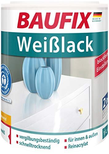 Baufix Weißlack Glänzend 2in1 Lack & Grundierung 1 Liter