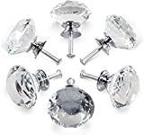 Pomos Cristal,6 Piezas Tiradores Cristal para Cajones,Pomos y Tiradores de Muebles Perilla de la Puerta con Tornillo Perillas Manijas para Armario Cajón Aparador Cocina(30mm)