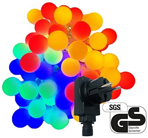 80-er XXL Party-Lichterkette | bunte Lichtkugeln | strombetrieben | 16m + Zuleitung | IP44 Innen- und Außenbereich | Deko | Weihnachten | Sommerlichterkette | Gartenlichterkette | Kugel-Lichterkette