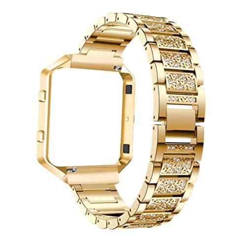 ibasenice Comaptible para Fitbit Blaze Watchband HR Metal Diamante-Tachonado Aleación Correa Reloj Accesorios con Marco de Reloj para Mujeres Niños Niñas Hombres