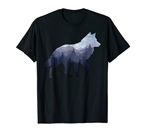 Lone Wolf Survives The Mountain Silhouette Art T-Shirt