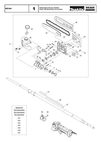 Motorblok, origineel onderdeel voor Dolmar ME2464, 135668-4