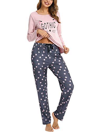 Pigiama Donna Cotone Lungo Invernali Pigiama Due Pezzi,Gatto Stampato Manica +Pantaloni Lunga (Rosa,S)