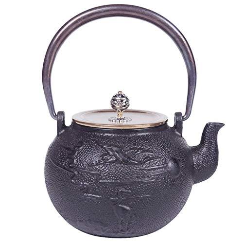 JJZXT Tetera de Hierro Fundido con Acero Inoxidable infusor for Hojas Sueltas de té y bolsitas de té, de Hierro Fundido Tetera Cocina de quemadores Caja de Seguridad