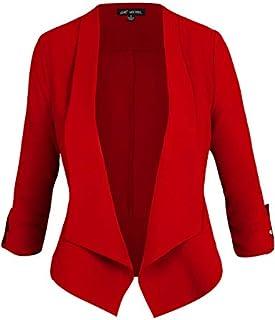 Michel Women's Open Front Work Blazer Long Sleeve Casual Office Jacket