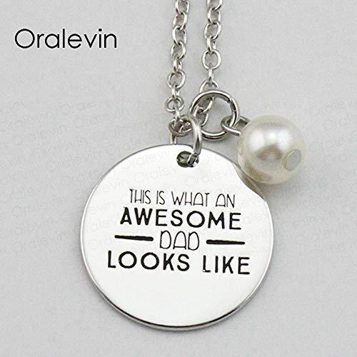 NCDFH Esto ES LO Que SE VE UN PAPÁ Impresionante Inspirador Estampado a Mano Grabado Colgante Collar Femenino joyería 10 unids/Lote Pulsera