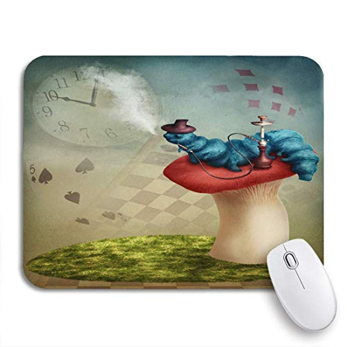 Gaming mouse pad blue wonderland die shisha smoking caterpillar von brown alice nonslip rubber backing computer mousepad für notebooks mouse mats