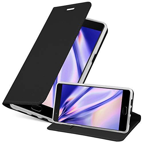 Cadorabo Hülle für OnePlus 3 / 3T in Classy SCHWARZ - Handyhülle mit Magnetverschluss, Standfunktion & Kartenfach - Hülle Cover Schutzhülle Etui Tasche Book Klapp Style